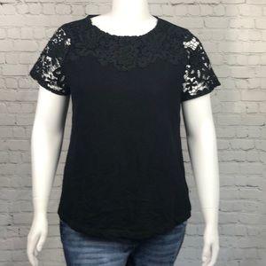 Charter Club Black Crochet Short Sleeve Top Sz 1X